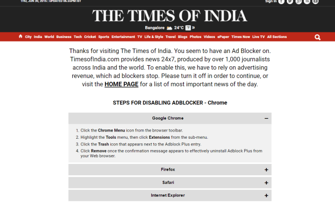 Banning the ad-blockers. Credit: TOI