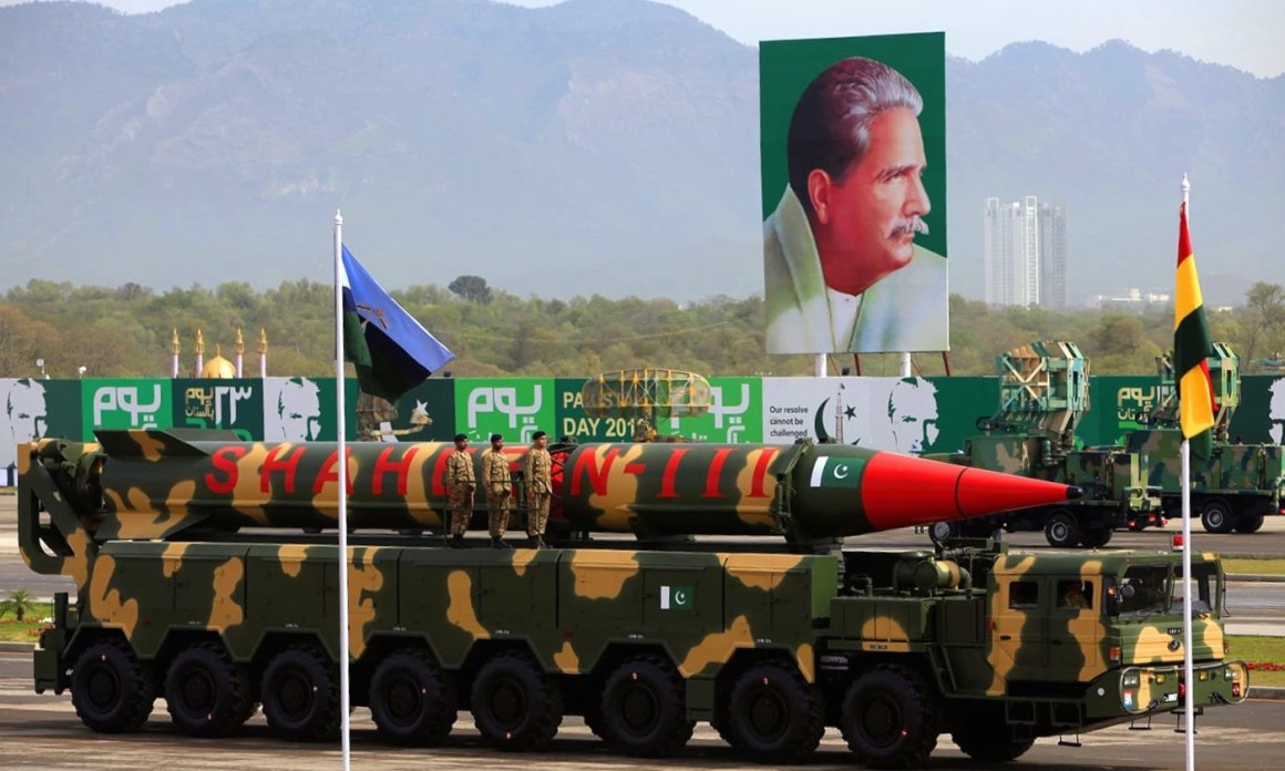 The Shaheen-III missile is displayed during the Pakistan Day parade in Islamabad, Pakistan, March 23, 2016. A portrait of Pakistan's national poet Allama Muhammad Iqbal is seen in the background. Credit: REUTERS/Faisal Mahmood