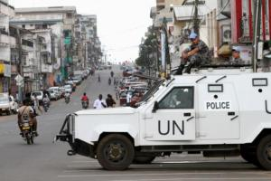 UN peacekeepers patrol in their vehicle during Liberia's presidential election run-off, along a street in Monrovia November 8, 2011.  Credit: Reuters/Luc Gnago