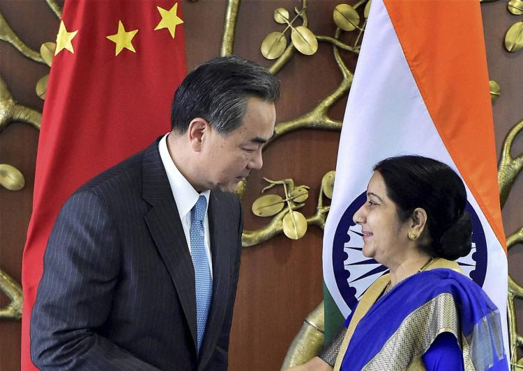 Sushma Swaraj and Wang Yi. Credit: PTI