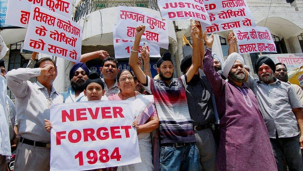A protest demanding that the accused in 1984 riot cases be brought to justice. Credit: PTI/Files
