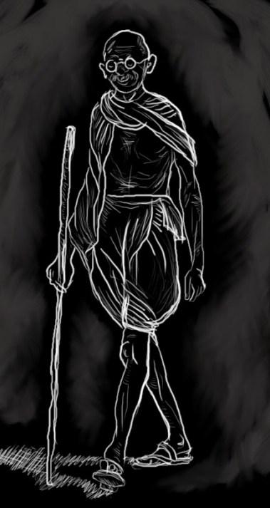 Gandhi on the Dandi march. Illustration by Ita Mehrotra