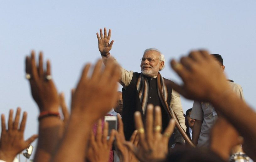 Prime Minister Narendra Modi cheered by his audience at a rally. Credit: Reuters