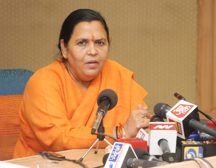 The Union Minister for Water Resources, River Development and Ganga Rejuvenation, Sushri Uma Bharti addressing a Press Conference, in New Delhi on October 27, 2014.