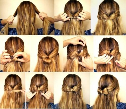 Как сделать бантик из волос на средние волосы 375