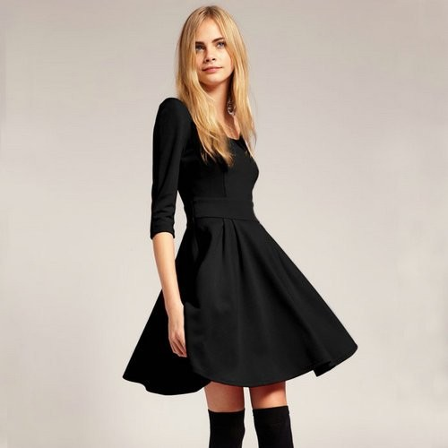 Free-Shipping-Women-s-Half-Sleeve-Evening-Dress-Lady-s-A-Line-Dress-AS001