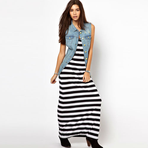HOT-Sale-Summer-Fashion-Women-Dress-Leisure-O-Neck-Black-And-White-Striped-Long-Dress-Size