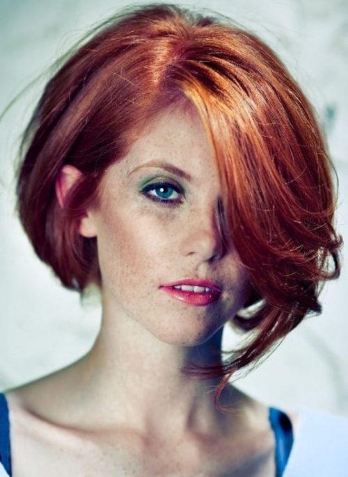 Рыжие волосы на каре фото