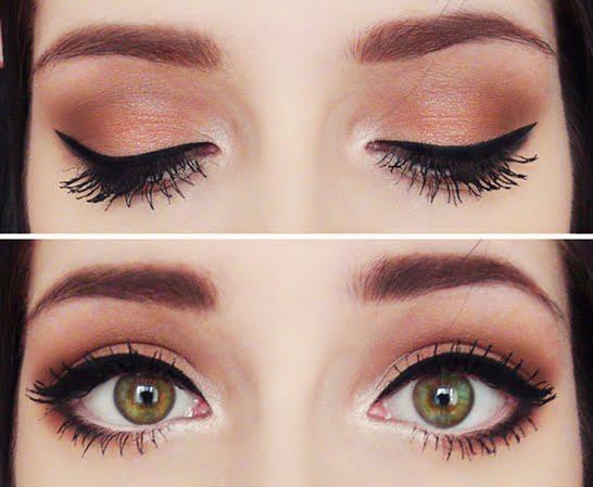 Макияж для зрительного увеличения карих глаз