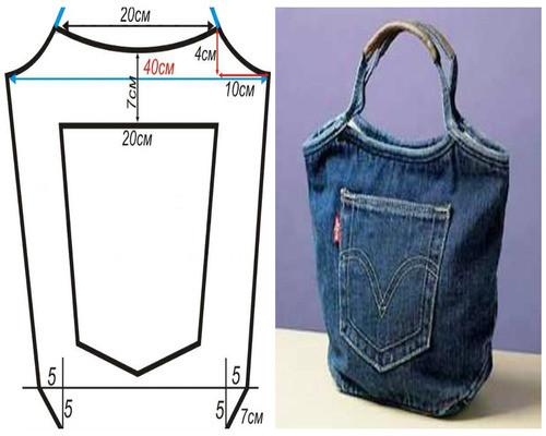 Выкройка сумки своими руками из джинса своими руками 76