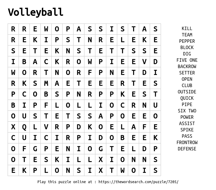 volleyball wordsearch