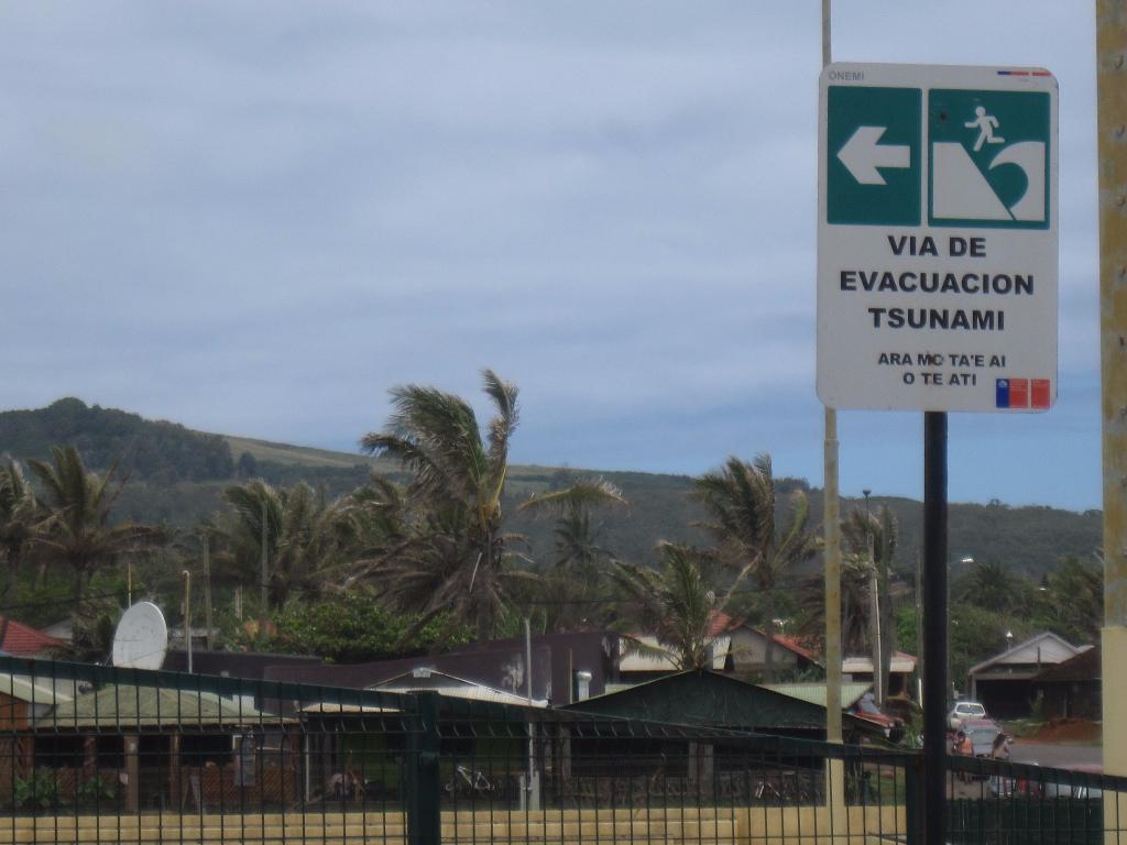 Tsunami evacuation signs Easter Island, Rapa Nui, Hanga Roa, Isla de Pascua, Chile, South America