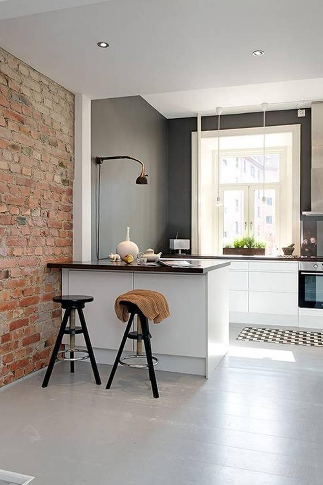 interior brick wall accent cool kitchen design idea small kitchen interior decoration kitchen interior designs