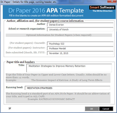 Creating a Word document formatted for an APA student paper