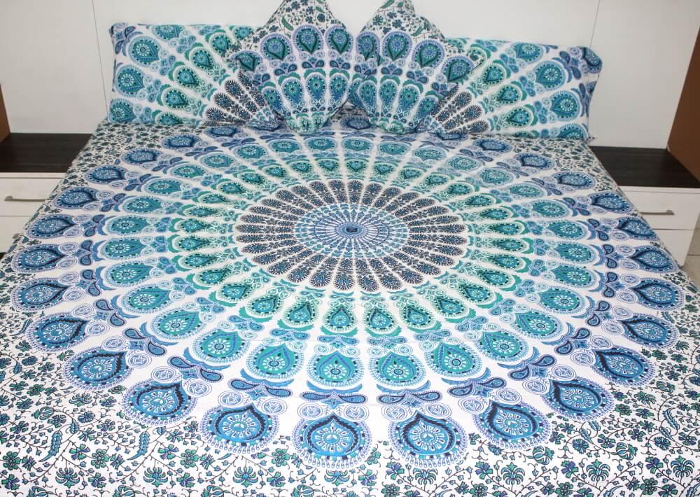 Bohemian Blue And White Peacock Blanket The Yoga Mandala