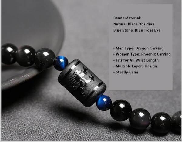 Phoenix Dragon Black Obsidian Bracelets The Yoga