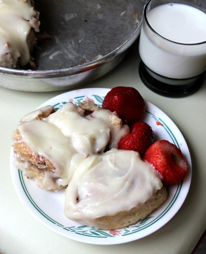 cinnamon rolls + strawberries