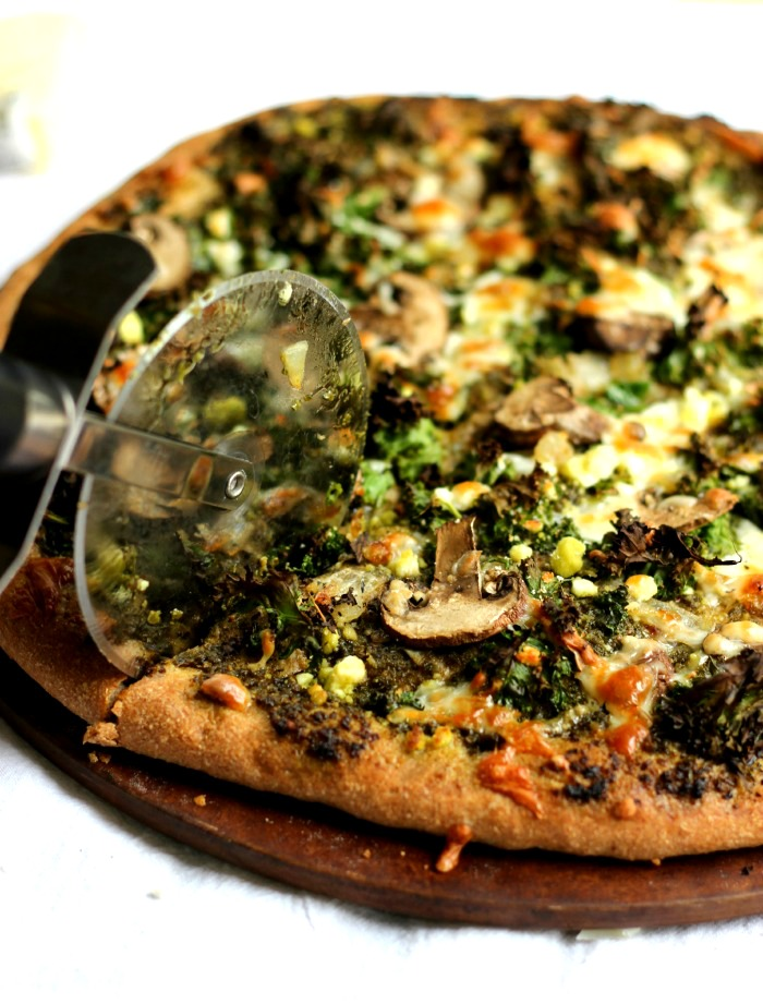 Whole Wheat Pesto Pizza with Mushroom and Kale