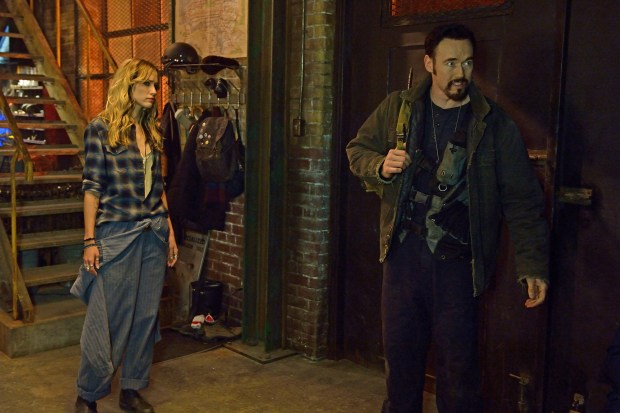 """THE STRAIN -- """"BK, NY"""" -- Episode 201 (Airs July 12, 10:00 pm e/p) Pictured: (l-r) Ruta Gedmintas as Dutch Velders, Kevin Durand as Vasily Fet. CR: Michael Gibson/FX"""
