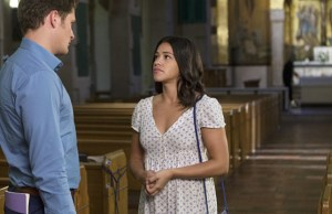 "Jane The Virgin -- ""Chapter Twenty-Five"" -- Image Number: JAV203b_0140.jpg -- Pictured (L-R): Brett Dier as Michael and Gina Rodriguez as Jane -- Photo: Scott Everett White/The CW -- © 2015 The CW Network, LLC. All rights reserved."