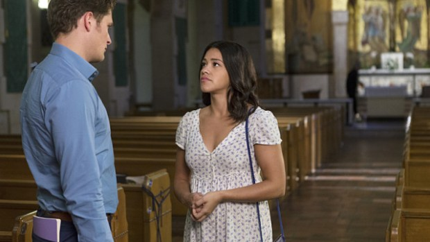 """Jane The Virgin -- """"Chapter Twenty-Five"""" -- Image Number: JAV203b_0140.jpg -- Pictured (L-R): Brett Dier as Michael and Gina Rodriguez as Jane -- Photo: Scott Everett White/The CW -- © 2015 The CW Network, LLC. All rights reserved."""