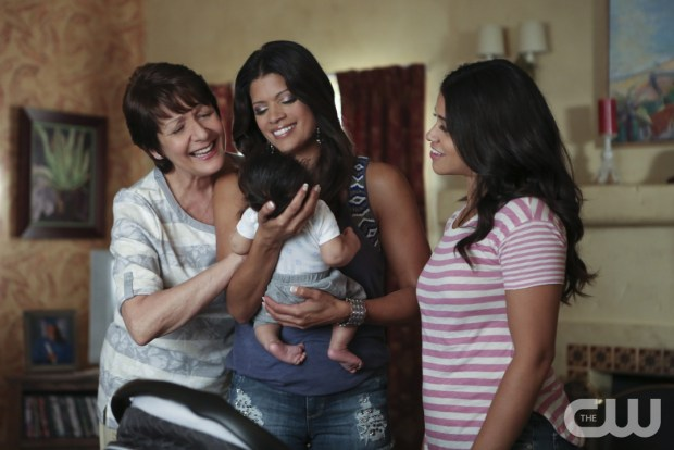 """Jane The Virgin -- """"Chapter Twenty-Eight"""" -- Image Number: JAV206a_0017.jpg -- Pictured (L-R): Ivonne Coll as Alba, Andrea Navedo as Xo and Gina Rodriguez as Jane -- Photo: Scott Everett White/The CW -- © 2015 The CW Network, LLC. All rights reserved."""