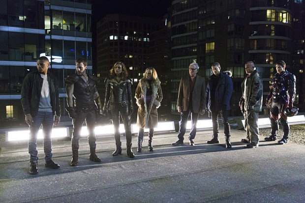 """DC's Legends of Tomorrow -- """"Pilot, Part 1"""" -- Image LGN101d_0406b -- Pictured (L-R): Franz Drameh as Jefferson """"Jax"""" Jackson, Falk Hentschel as Carter Hall/Hawkman, Ciara Renee as Kendra Saunders/Hawkgirl, Caity Lotz as Sara Lance, Victor Garber as Professor Martin Stein, Wentworth Miller as Leonard Snart/Captain Cold, Dominic Purcell as Mick Rory/Heat Wave and Brandon Routh as Ray Palmer/Atom -- Photo: Jeff Weddell/The CW -- © 2015 The CW Network, LLC. All Rights Reserved."""