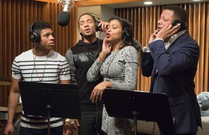 "EMPIRE: The Lyon family comes together to record a legacy album in the ""The Lyon's Roar"" episode of EMPIRE airing Wednesday, Feb. 25 (9:01-10:00 PM ET/PT) on FOX. Pictured L-R: Bryshere Gray, Jussie Smollett, Taraji P. Henson and Terrence Howard. ©2015 Fox Broadcasting Co CR: Chuck Hodes/FOX"