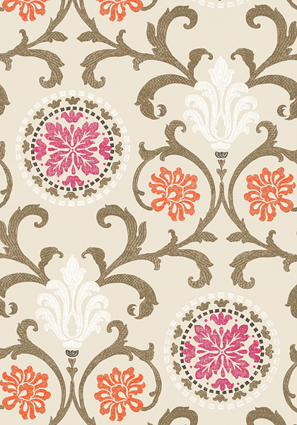 Black Velvet Damask Wallpaper Banyan Fuchsia And Coral T64104 Collection Caravan From