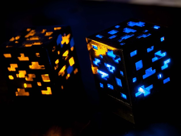Wallpaper Stone 3d Minecraft Ore Lamp Cube Block Red Stone Diamond Gold