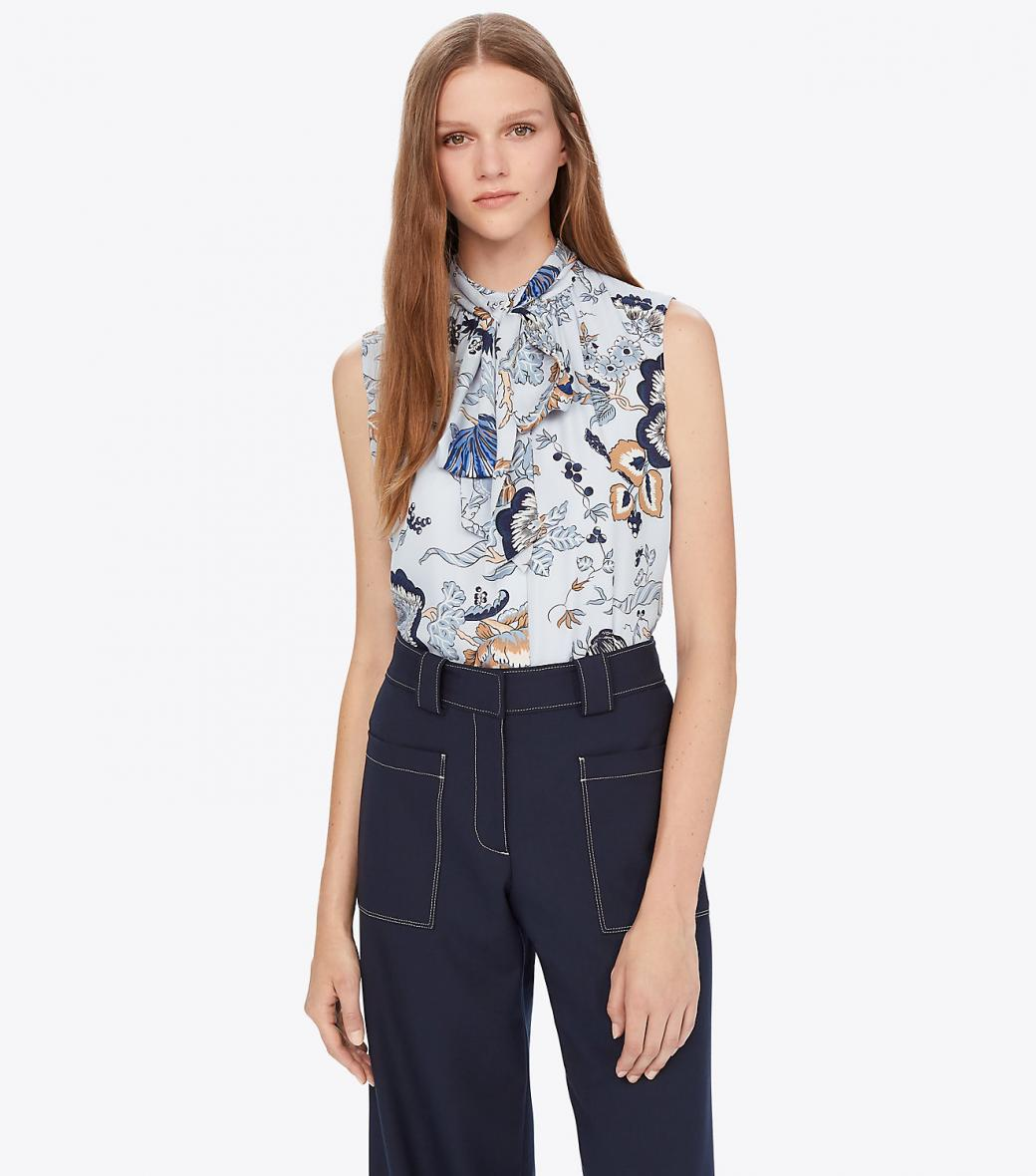 Chemises Femme Femme Tops Chemises Tory Burch Happy Times Sleeveless Bow Blouse Blue Happy Times Thingsofgeek