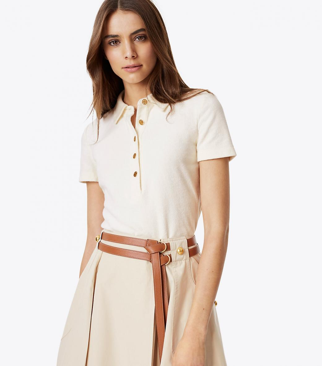 Chemises Femme Femme Tops Chemises Tory Burch Lennox Polo New Ivory Thingsofgeek