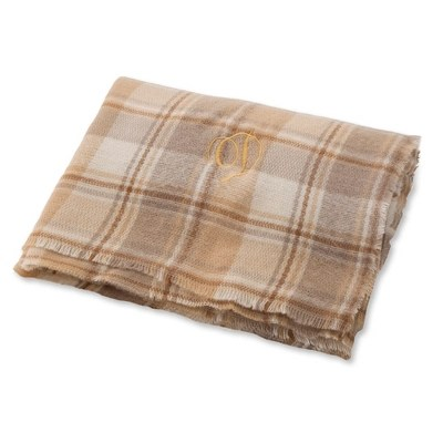 Plaid Taupe Taupe And Grey Plaid Blanket Scarf