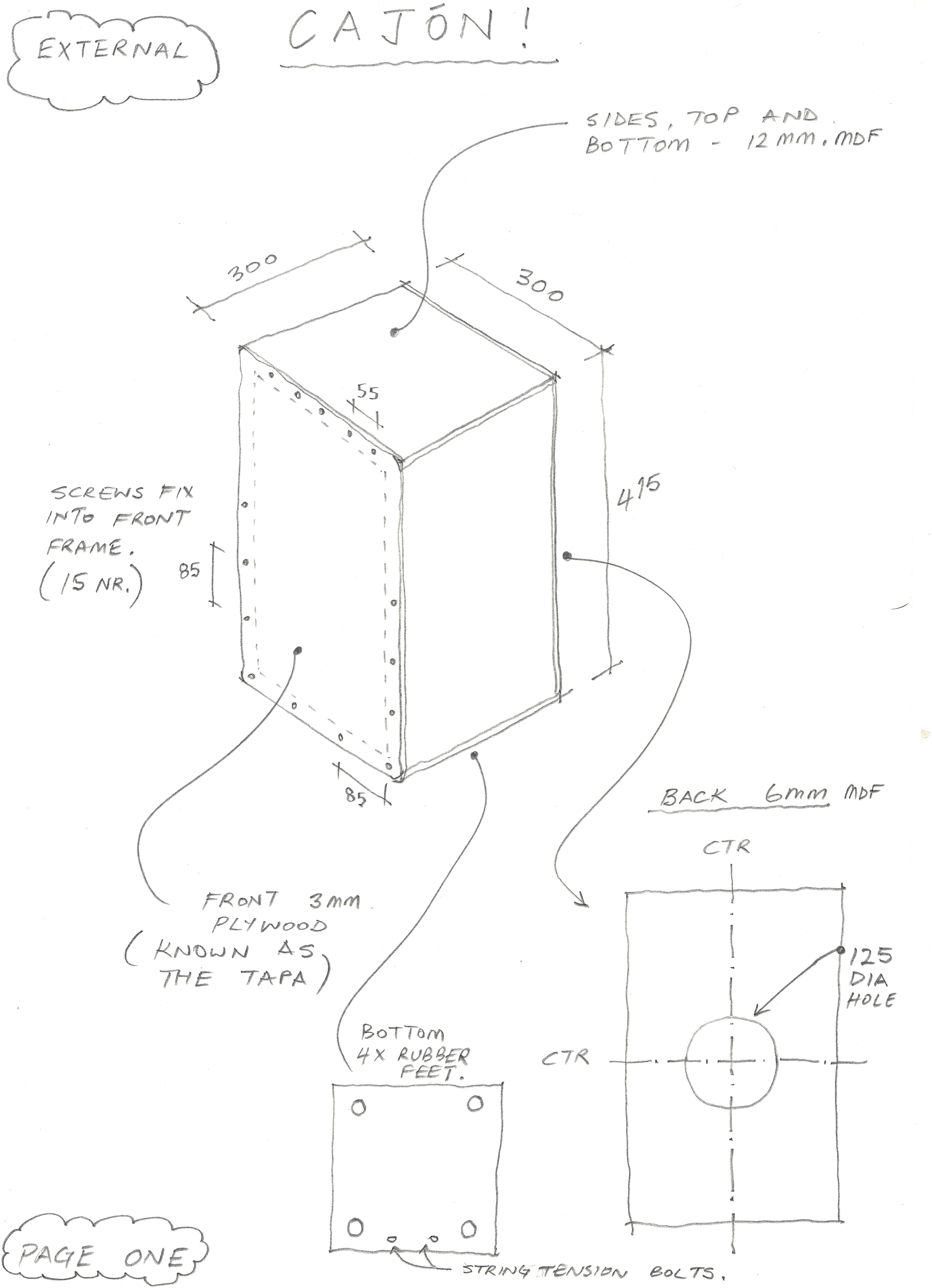 handmade cajon diagram