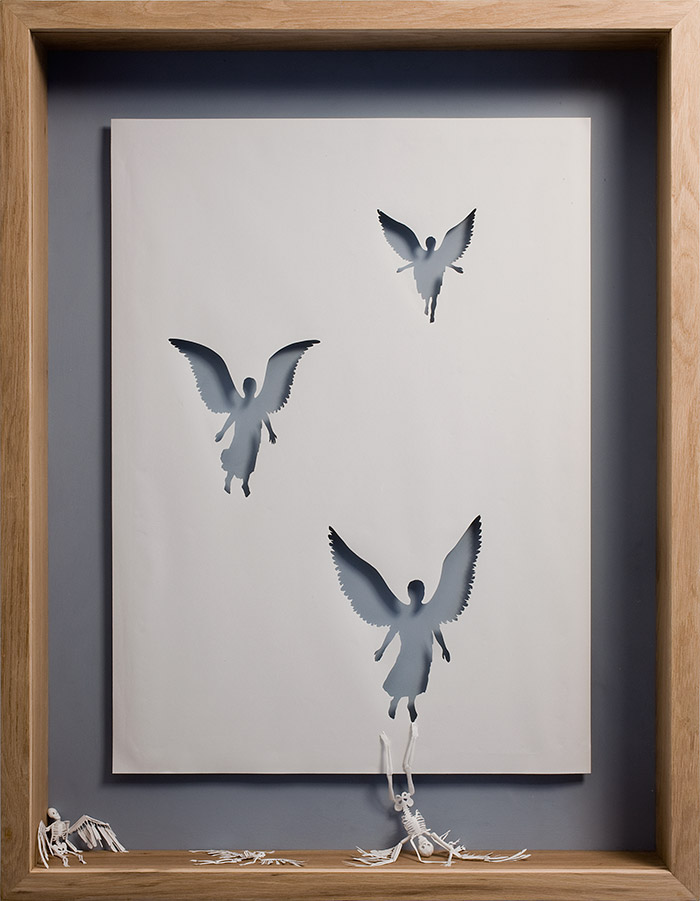 Dead Angels, 2007  Acid Free paper, glue, acrylic paint, and oak frame. 127 x 94 x 11,5 cm.