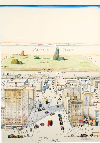 "View of the World from 9th Avenue, 1976. Ink, pencil, colored pencil, and watercolor on paper, 28 x 19"". Cover drawing for The New Yorker, March 29, 1976. Private collection."
