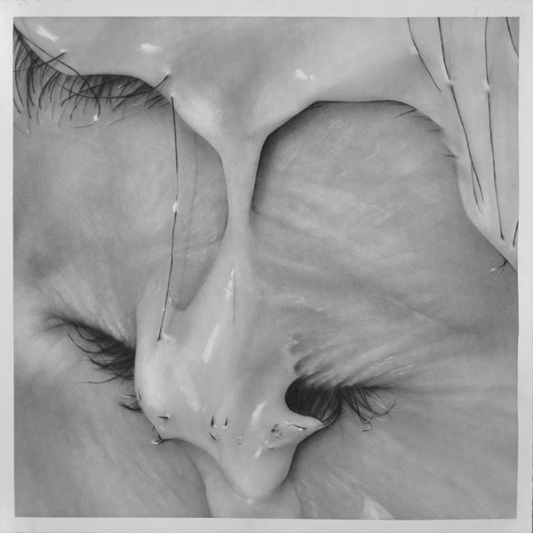 "Trickle, graphite on paper, 24 "" x 24 """