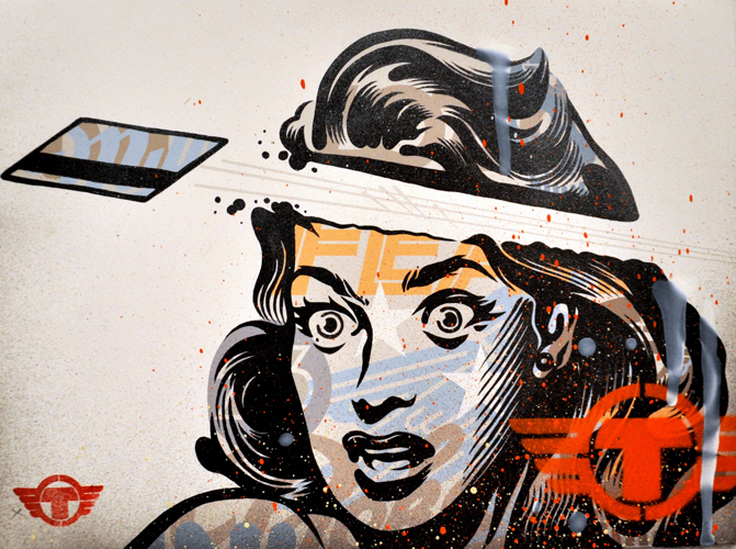 TrustoCorp :: Give Me Some Credit Mixed media on paper, 9 x 12""