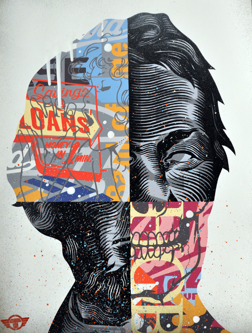 rustoCorp :: Floundering Father II Mixed media on paper, 17.5 x 13""