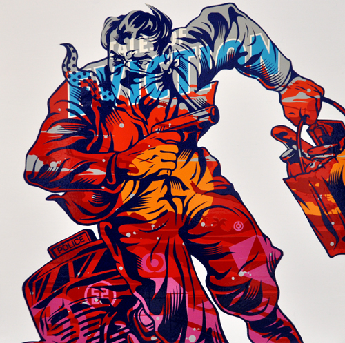 TrustoCorp :: Trusto Pulp (Tales of Eviction) Mixed media on wood panel, 18x18""