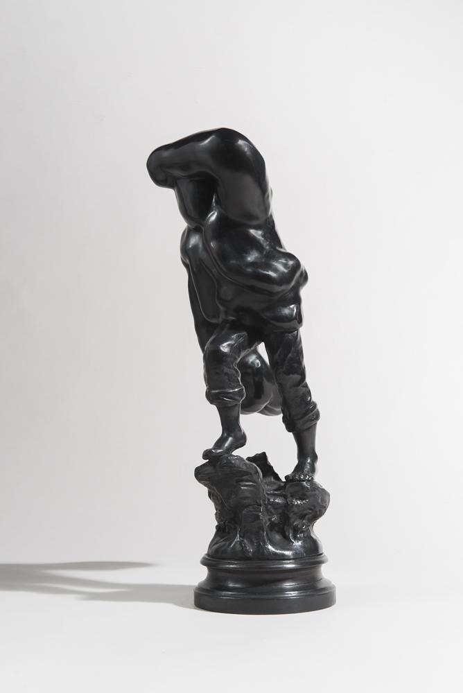 """the rescuer,"" 2014  bronze, patina  approx 57x23x23cm"