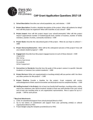 CAP Grant Application Questions 2017-2018 - Think 360 Arts for Learning