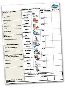 ThinkFundraiser Family Game Order Form