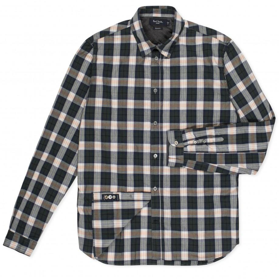 Paul Smith Shirts - Tailored-Fit Navy Plaid Cotton Shirt