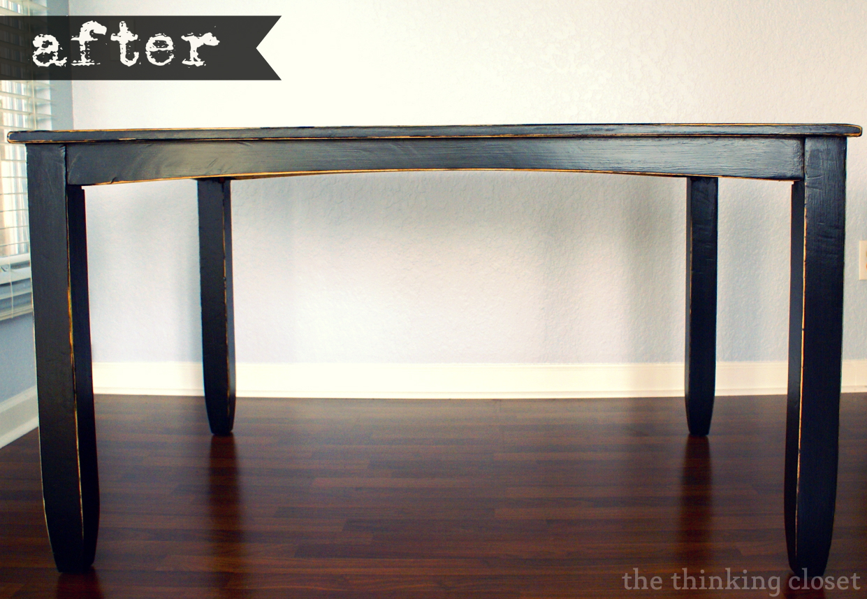 Ikea Expedit Chalk Paint Black Distressed Table Makeover The Thinking Closet