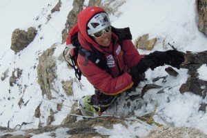 Gerlinde Kaltenbrunner on the steep step before the rock shoulder of K2 Photograph © National Geographic/Ralf Dujmovits