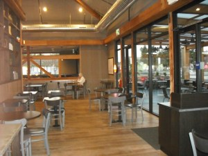 Specialtys Cafe Pleasanton California. Interior view of structural timber and glass