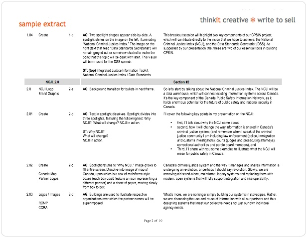 Writing and editing ebooks, scripts  storyboards ~ thinkit creative - sample script storyboard