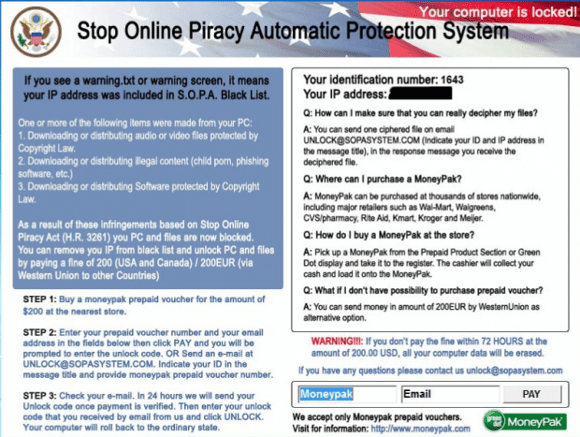 Stop Online Piracy Automatic Protection System Virus