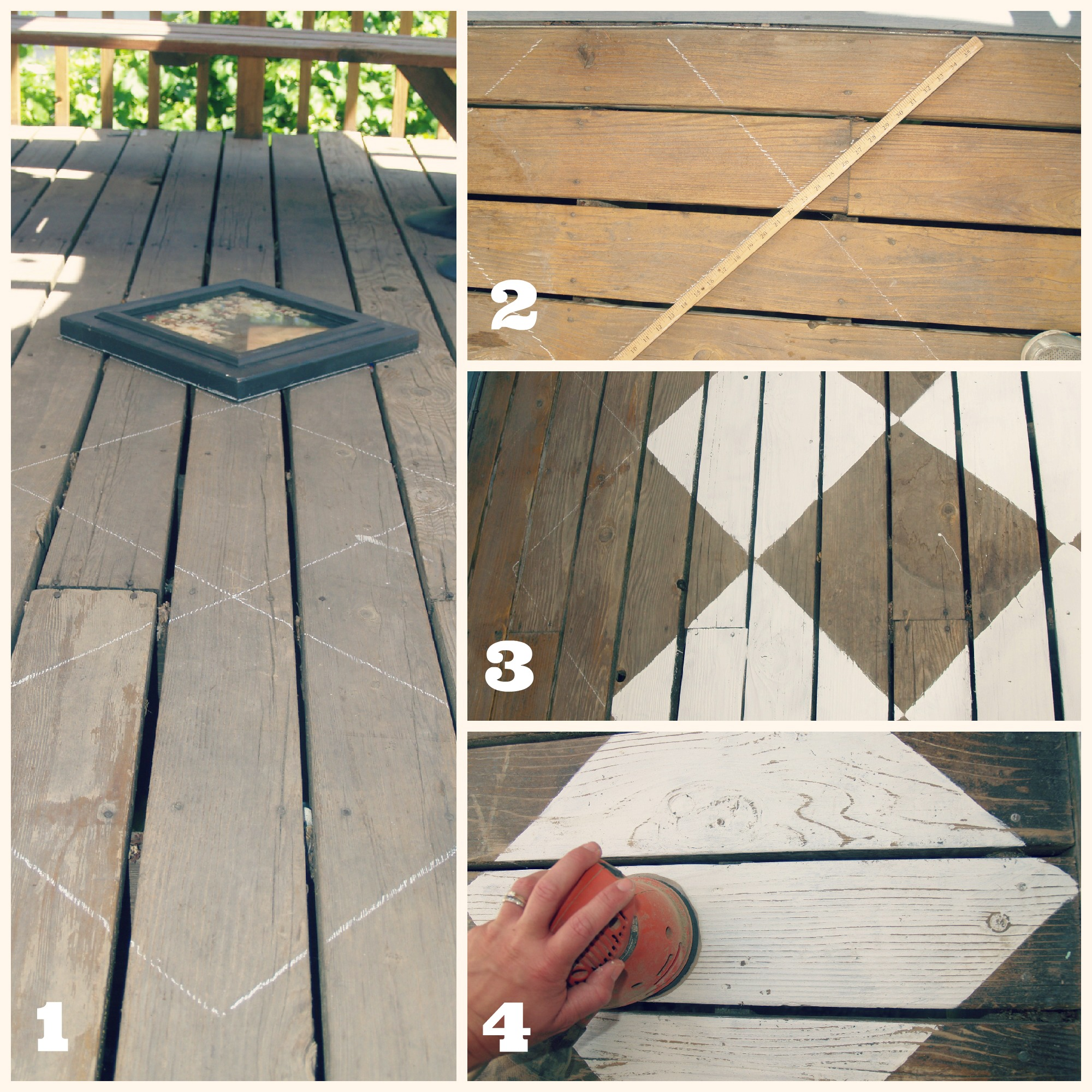 Diy Deck Flooring Outdoor Space Makeover Painted Floors And Diy Drop Cloth Shade